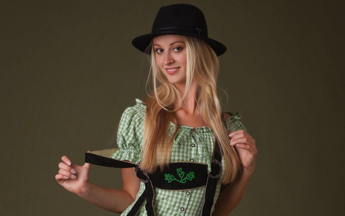 blondes boobs women models Femjoy magazine smiling huge boobs hats natural boobs Carisha lederhosen clothes wallpaper