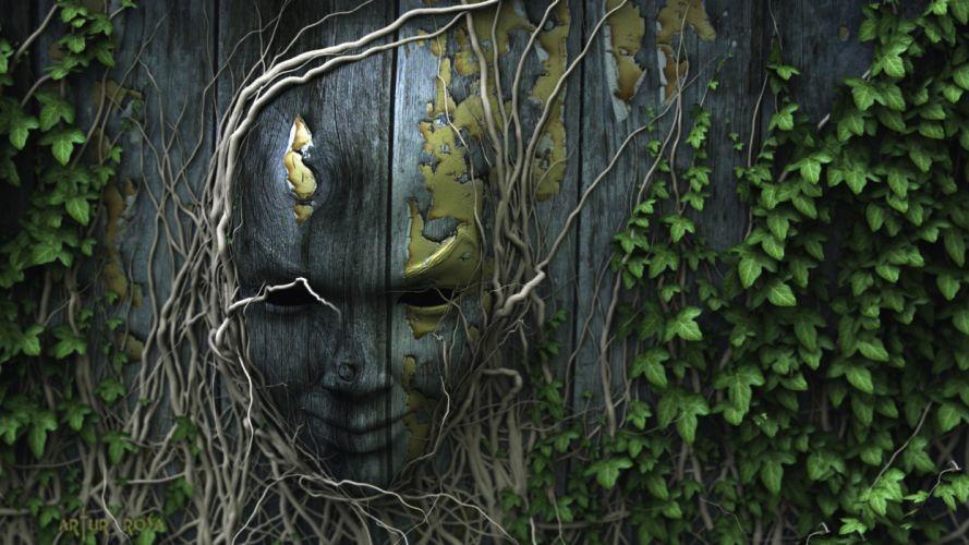 nature digital art faces wallpaper