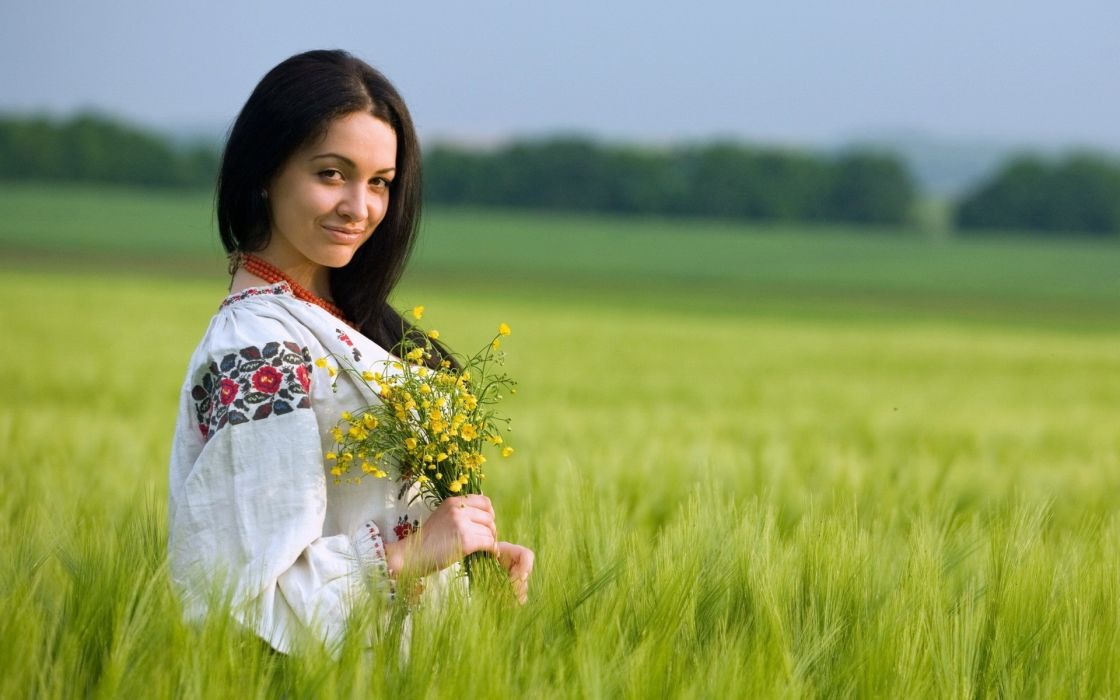 women nature grass Ukraine wallpaper