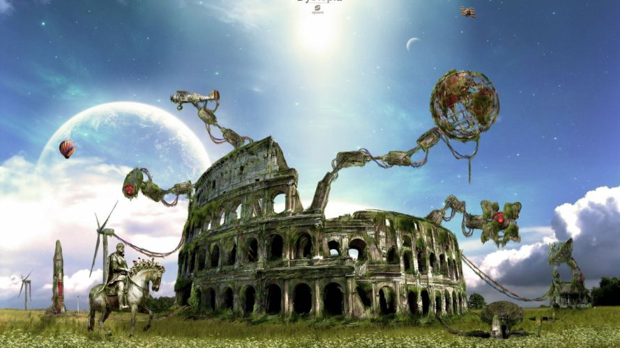 fantasy Rome Colosseum background wallpaper