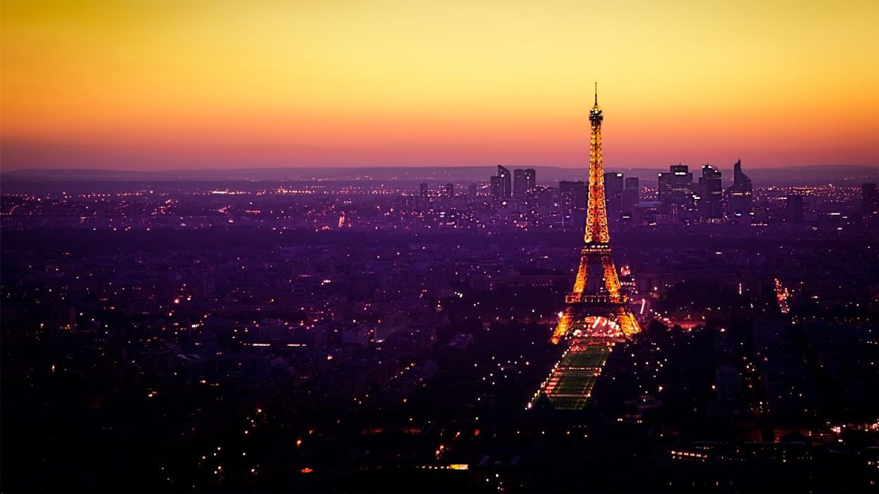 Eiffel Tower Paris cityscapes night lights tower architecture nightfall Le Louvre wallpaper
