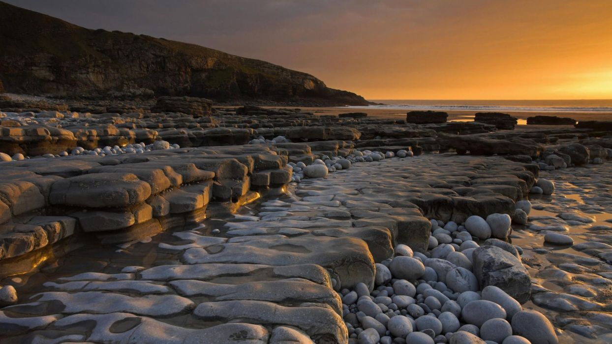 sunset stones wallpaper