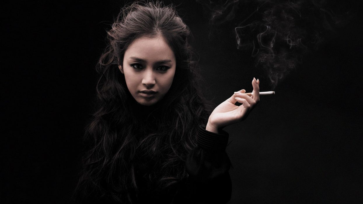 brunettes women smoking brown eyes Asians wallpaper