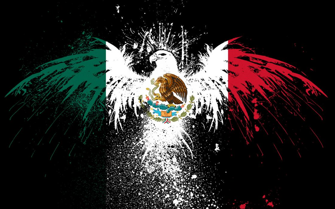 symbol eagles flags Mexico splashes wallpaper