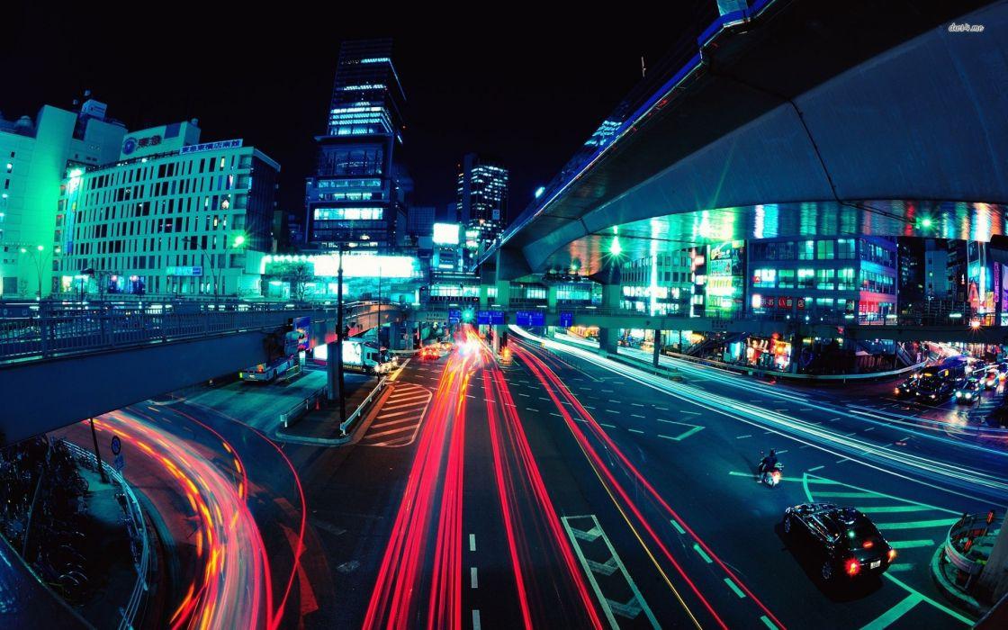 Tokyo lights artistic long exposure street lights light trails wallpaper