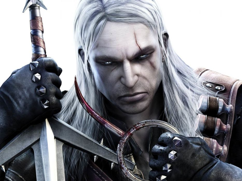 cartoons video games The Witcher Geralt of Rivia white hair The Witcher 2 Geralt wolf school school of wolf wallpaper