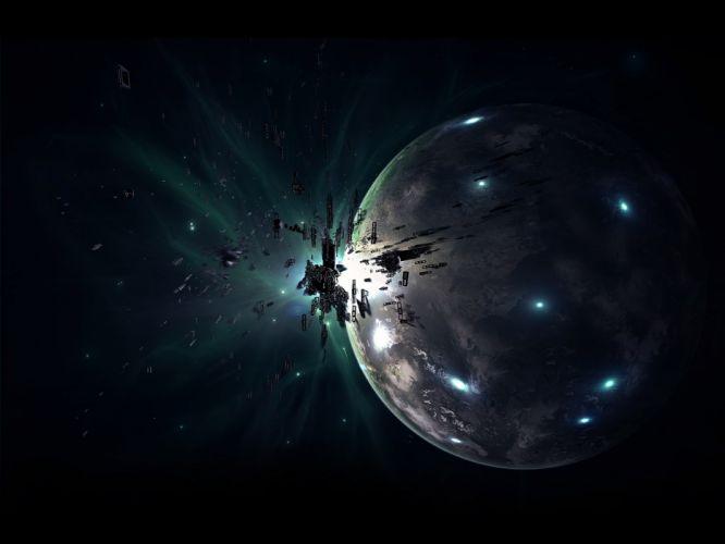outer space planets debris wallpaper