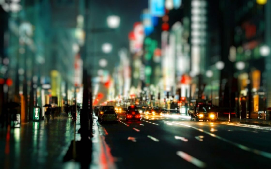 cityscapes streets cars urban bokeh depth of field nighttime wallpaper
