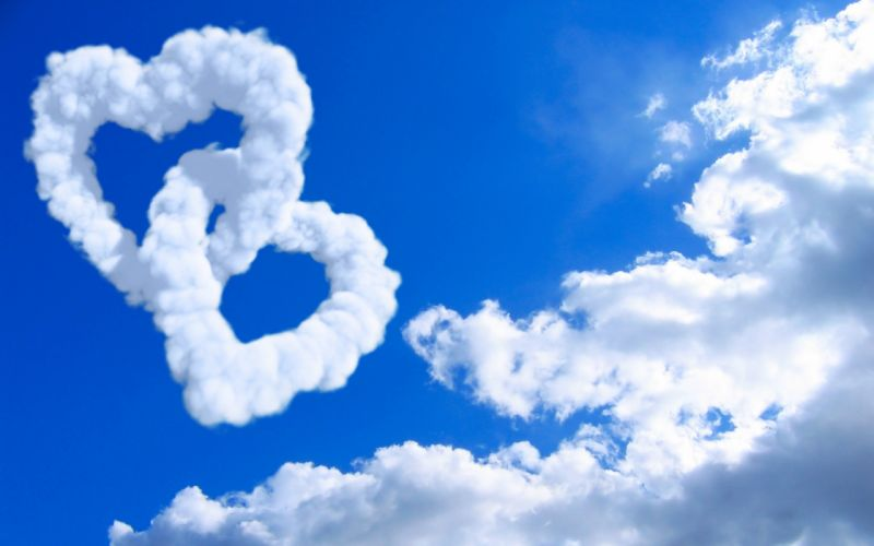 clouds models hearts skyscapes wallpaper