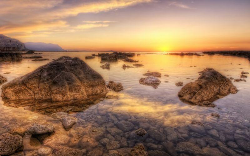 sunset ocean landscapes nature coast rocks sea wallpaper