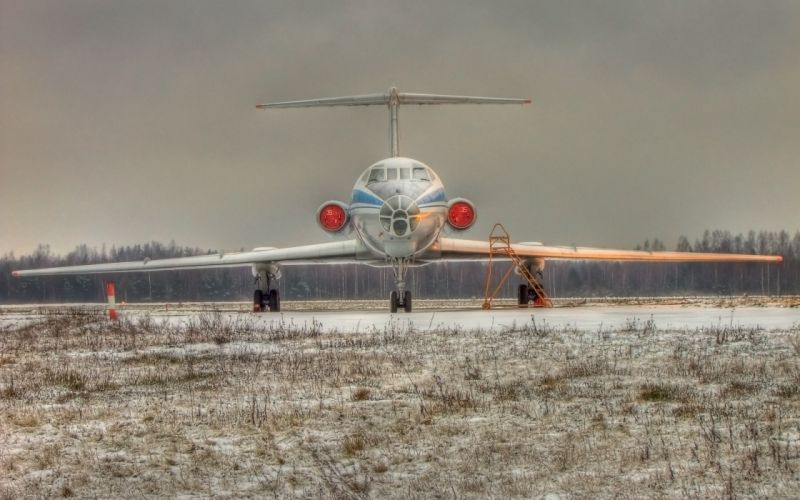 snow aircraft forest Tupolev TU-154 wallpaper