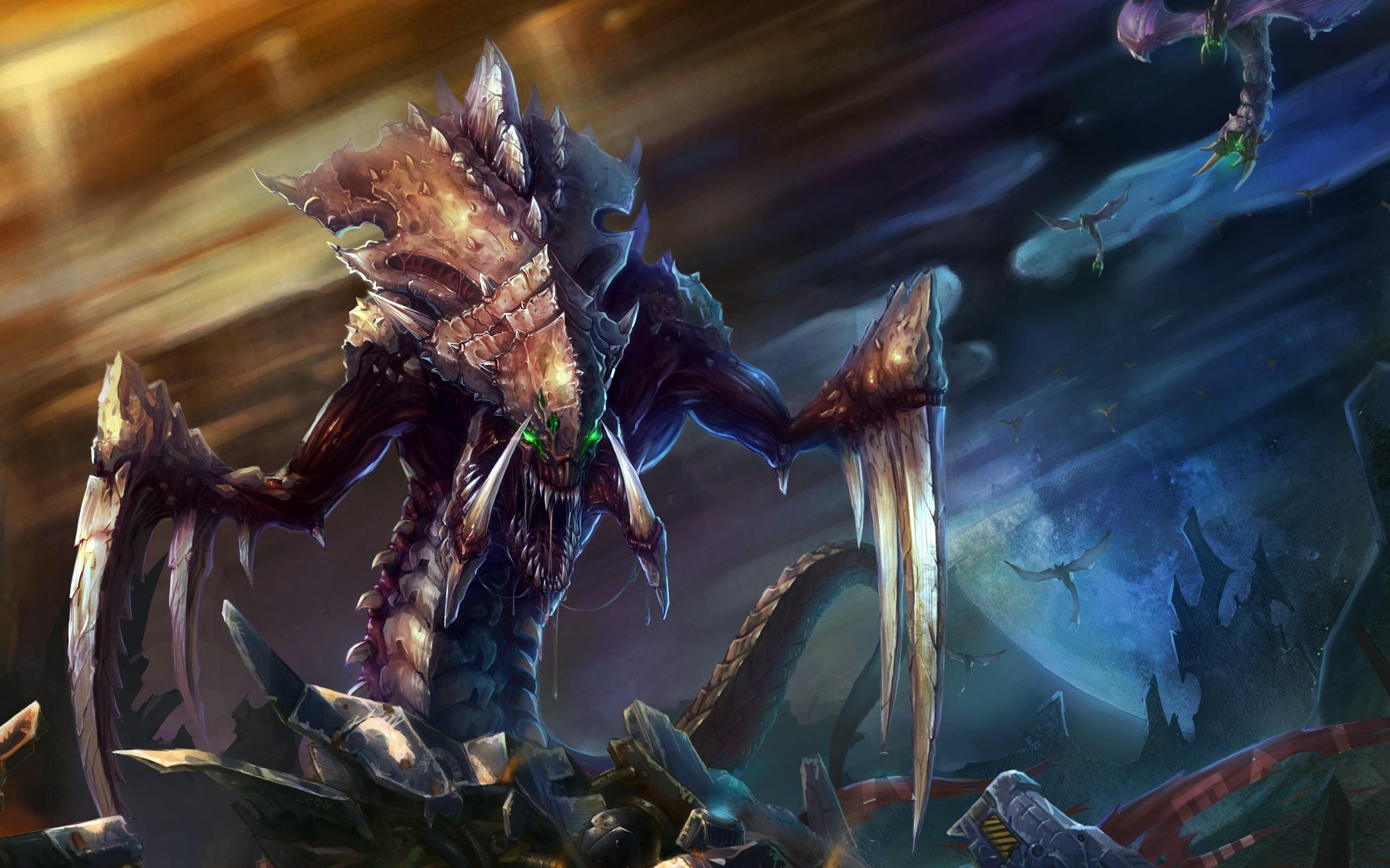 video games starcraft zerg hydralisk fantasy art artwork