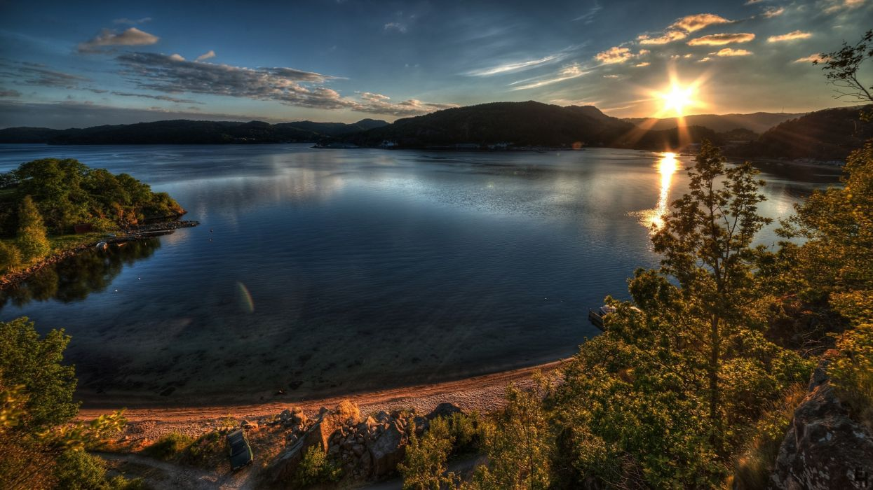 sunset clouds nature trees hills boats lakes TagNotAllowedTooSubjective skies wallpaper