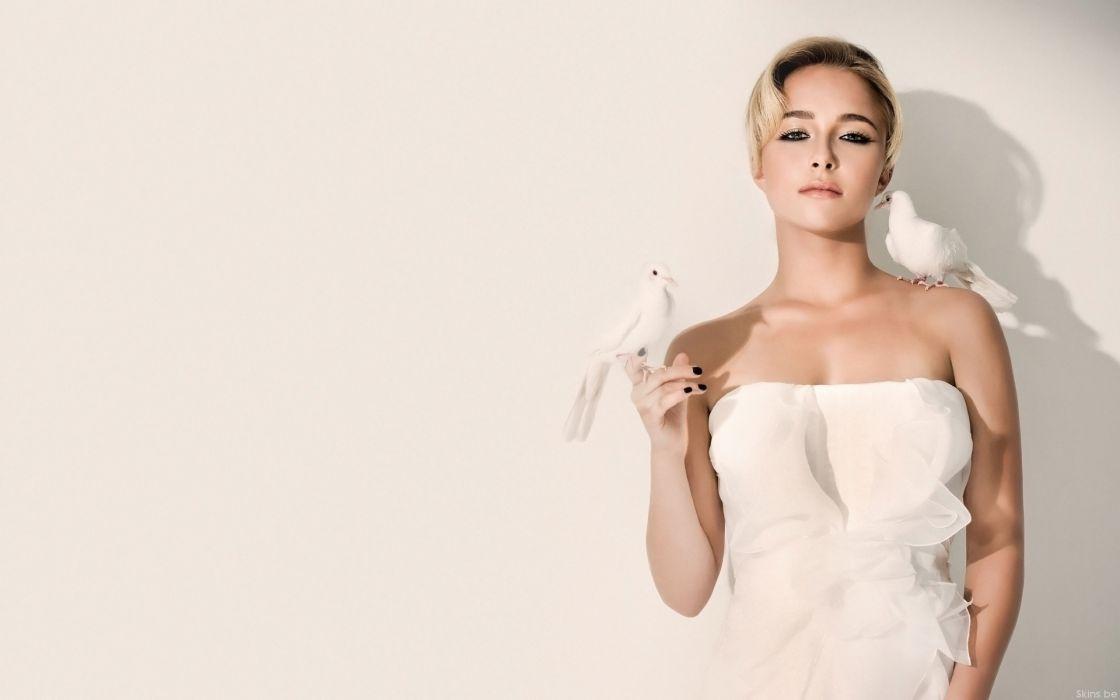 blondes women actress Hayden Panettiere doves celebrity white dress wallpaper