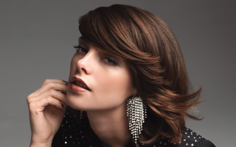 brunettes women Ashley Greene earrings faces wallpaper
