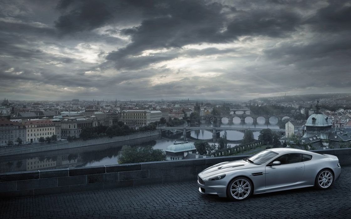 cityscapes cars Aston Martin James Bond bridges buildings roads vehicles cities silver cars DBS wallpaper