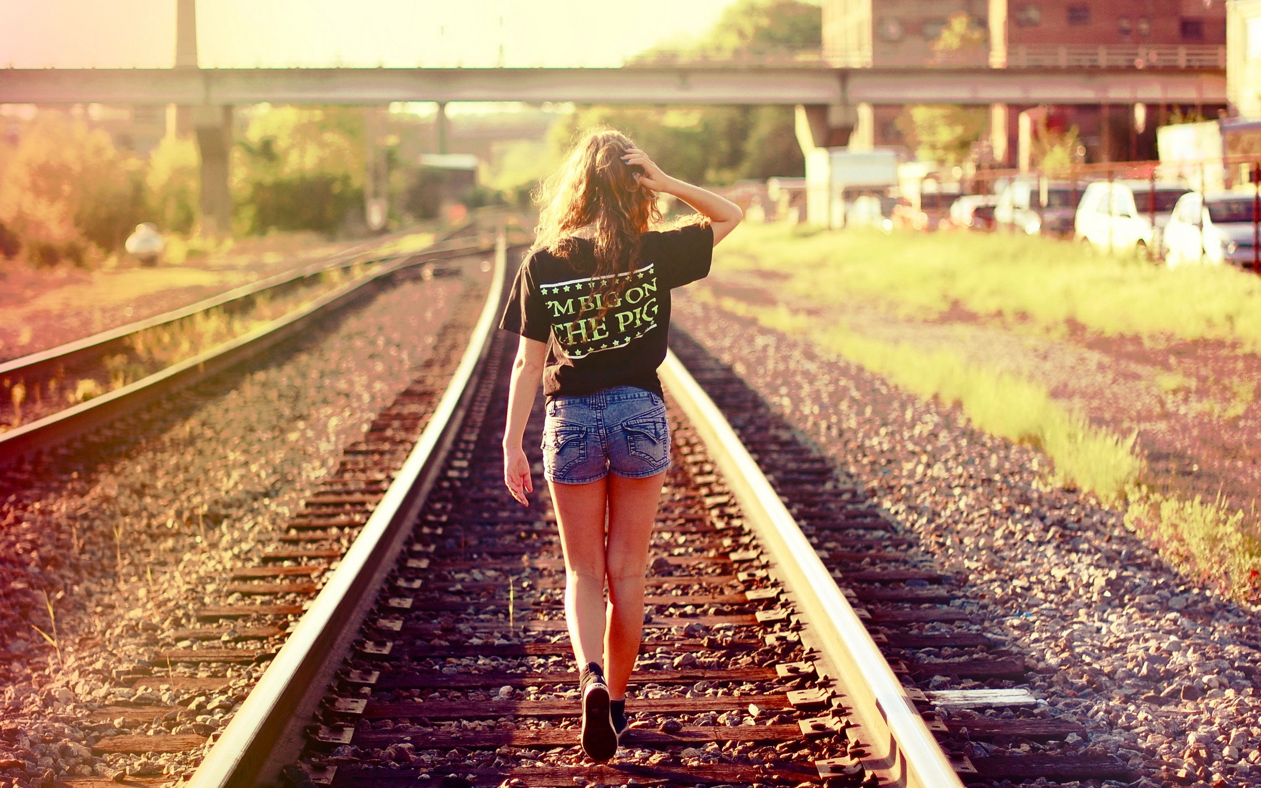 Women models railroad tracks denim shorts wallpaper for House of tracks