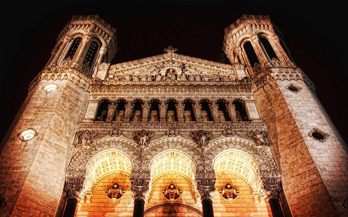 night architecture church wallpaper