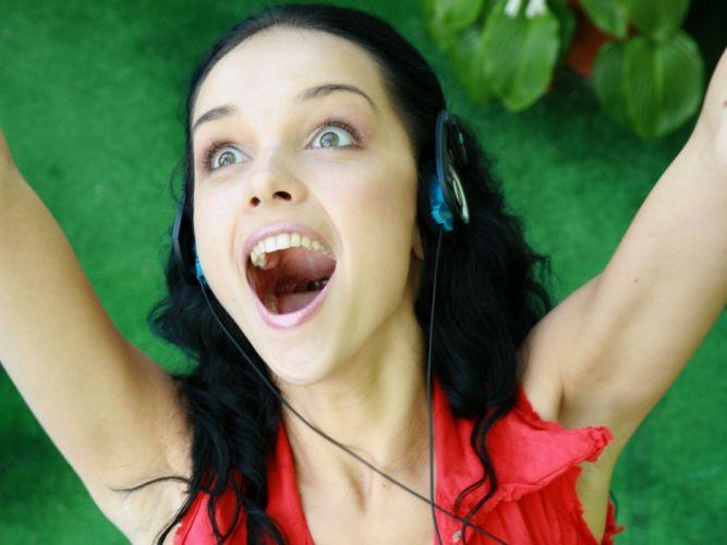 headphones women mouth Katie Fey smiling shout Ukrainian wallpaper