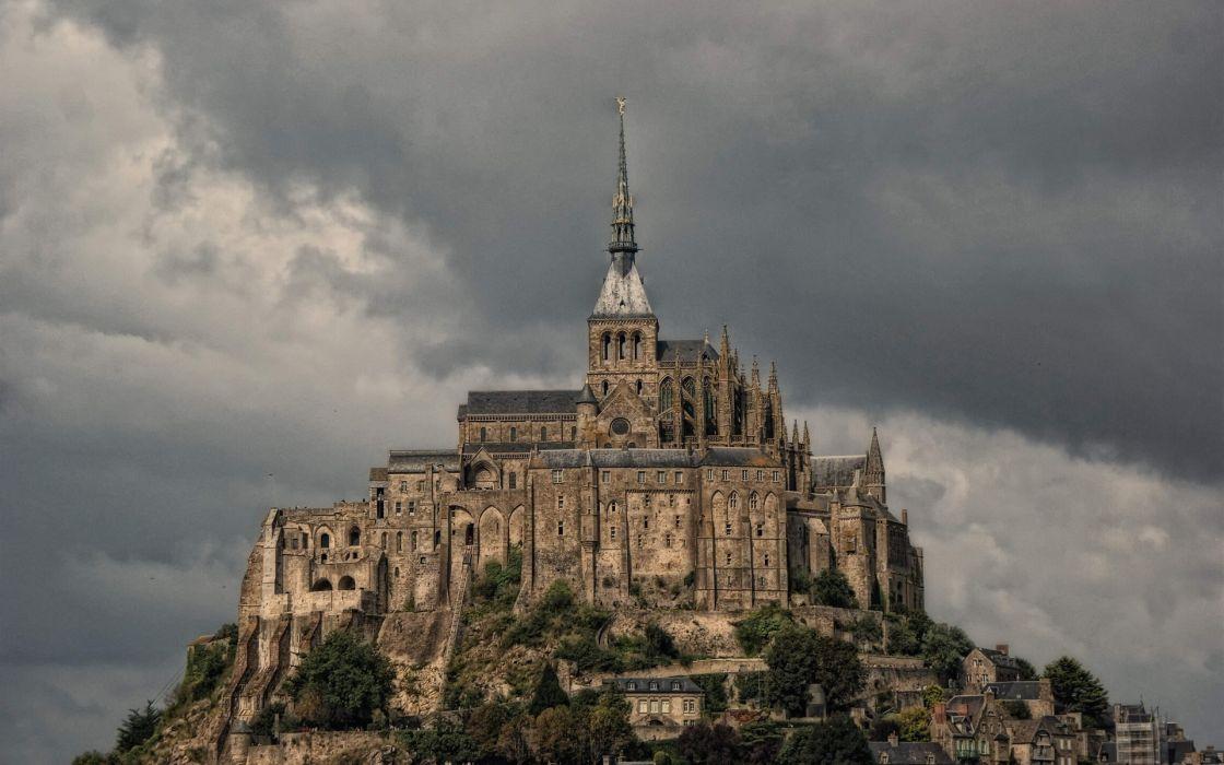 France town cities Le Mont-Saint-Michel Way of St_ James wallpaper