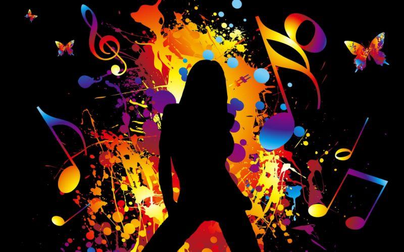 music digital art notes wallpaper