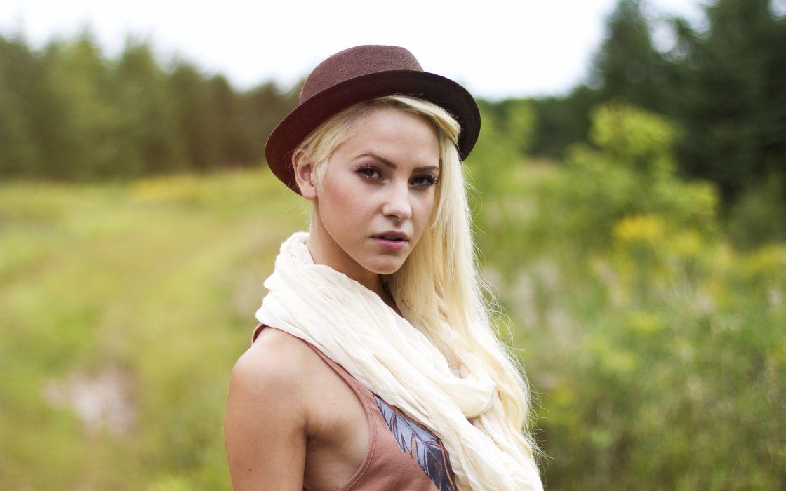 blondes women models hats wallpaper