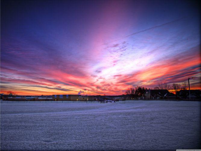 sunrise nature winter wallpaper