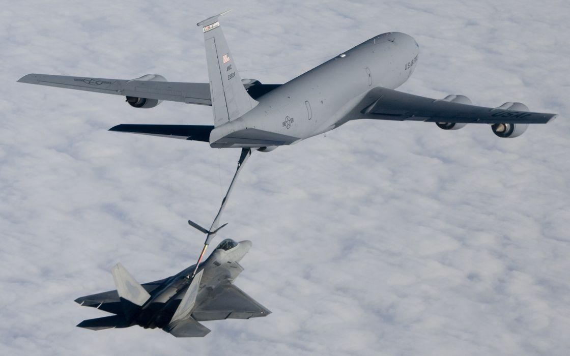aircraft F-22 Raptor monochrome KC-135 Stratotanker wallpaper
