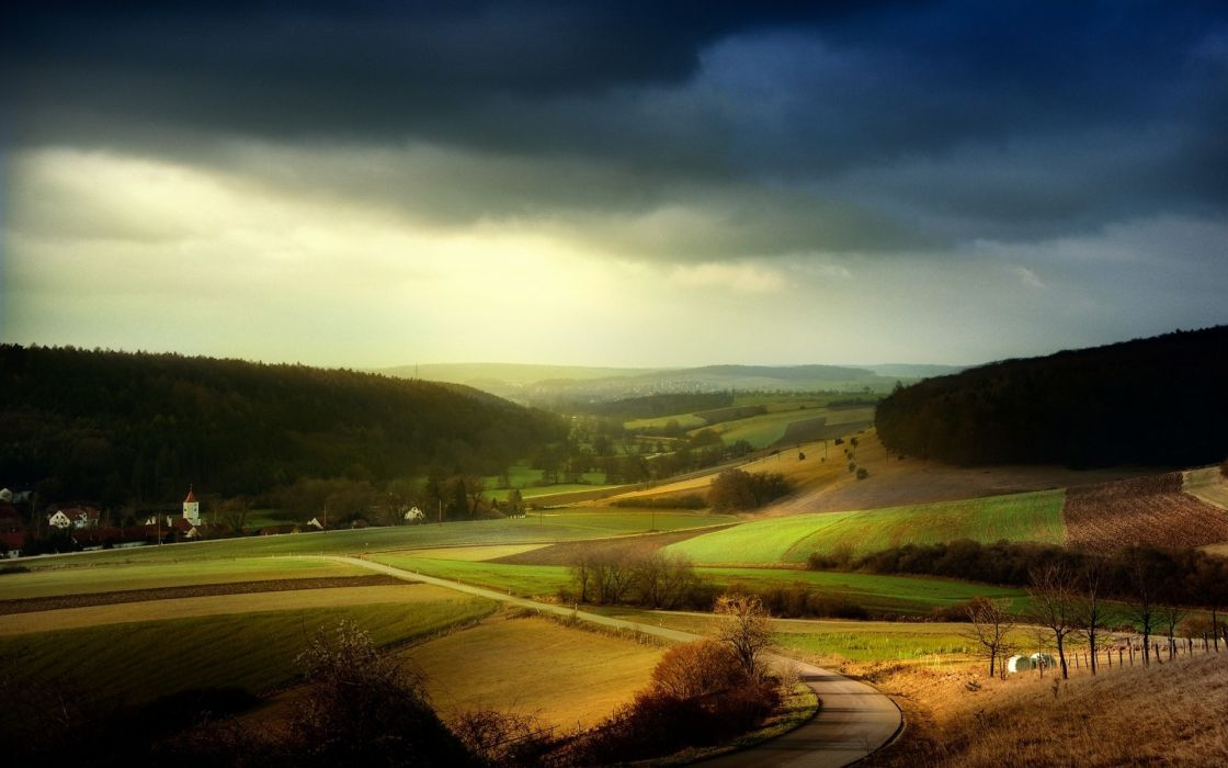 landscapes nature Distance fields sky wallpaper
