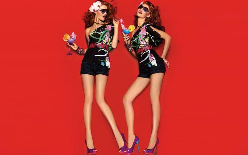 women minimalistic redheads models fashion freckles Cintia Dicker fashion model wallpaper