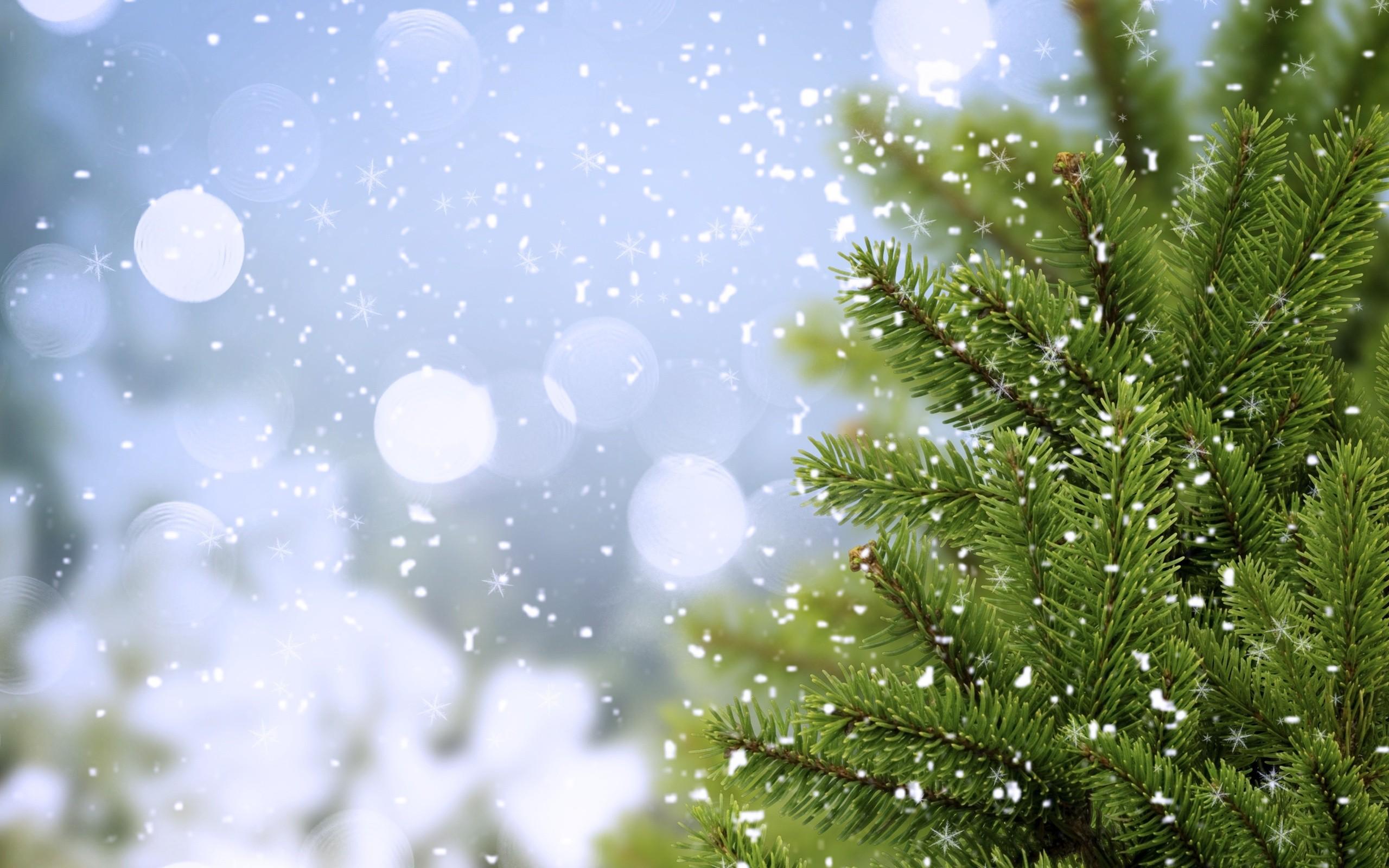 Новый год, елка, снег, снежинки