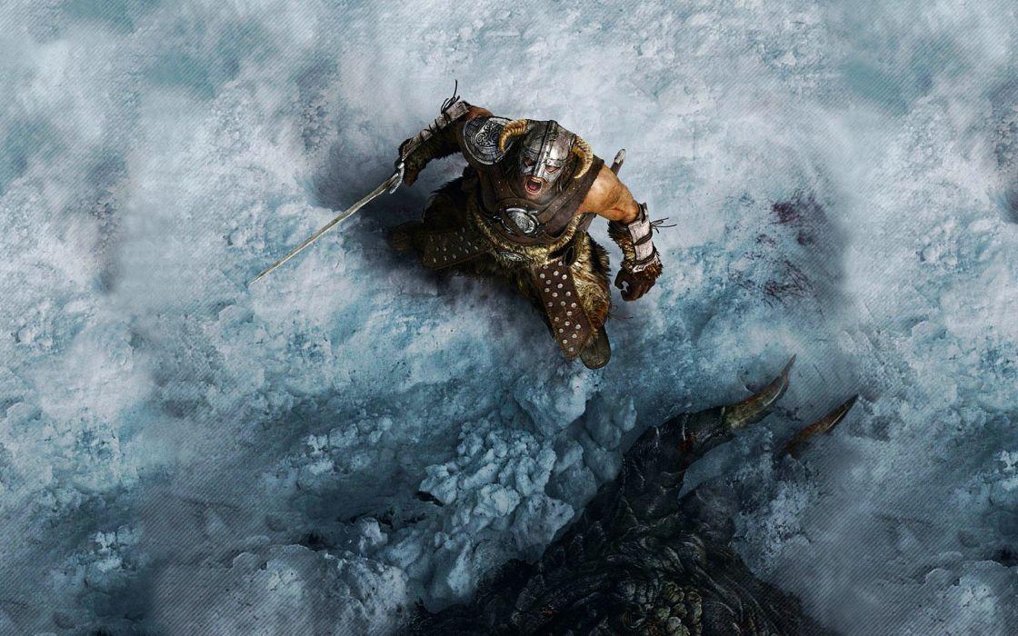 video games Vikings The Elder Scrolls The Elder Scrolls V: Skyrim shout Dovahkiin wallpaper