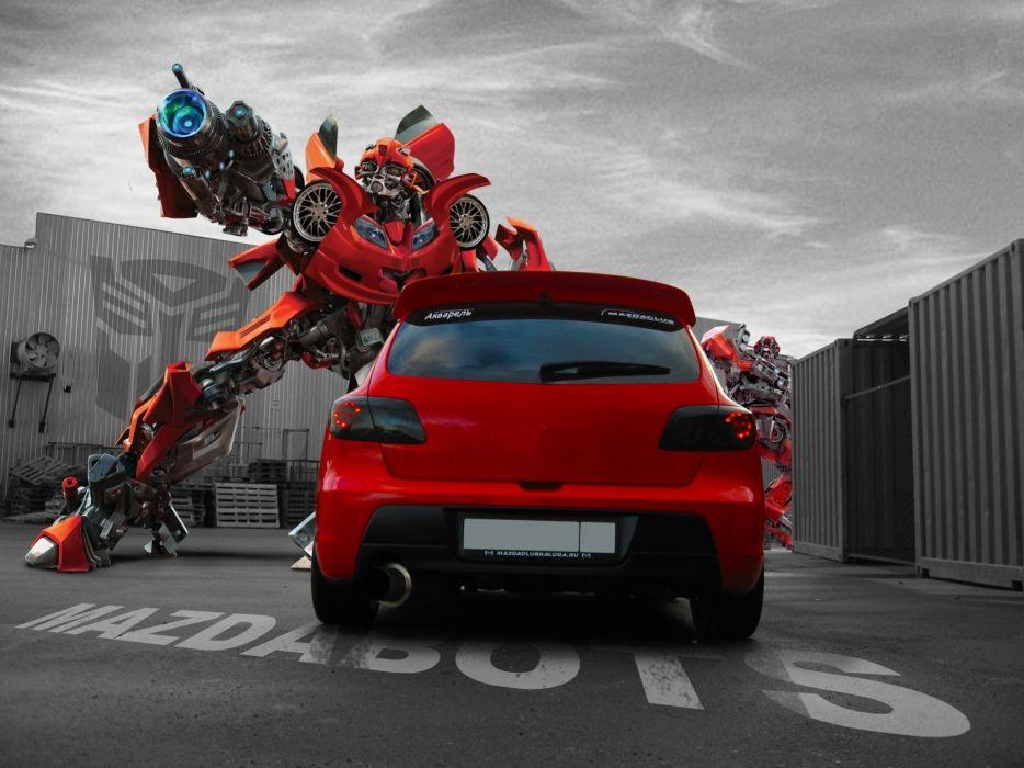 Transformers robots cars Mazda red cars wallpaper