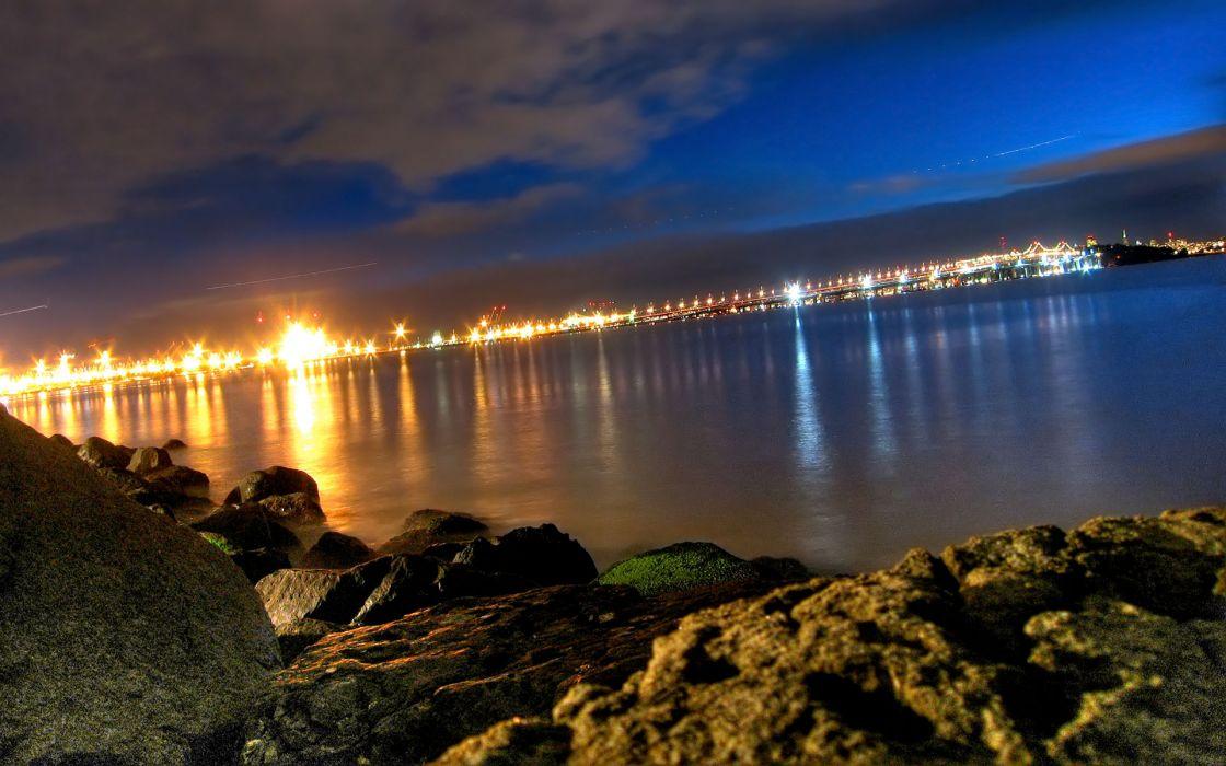 water landscapes night lights bridges cities city night sea wallpaper