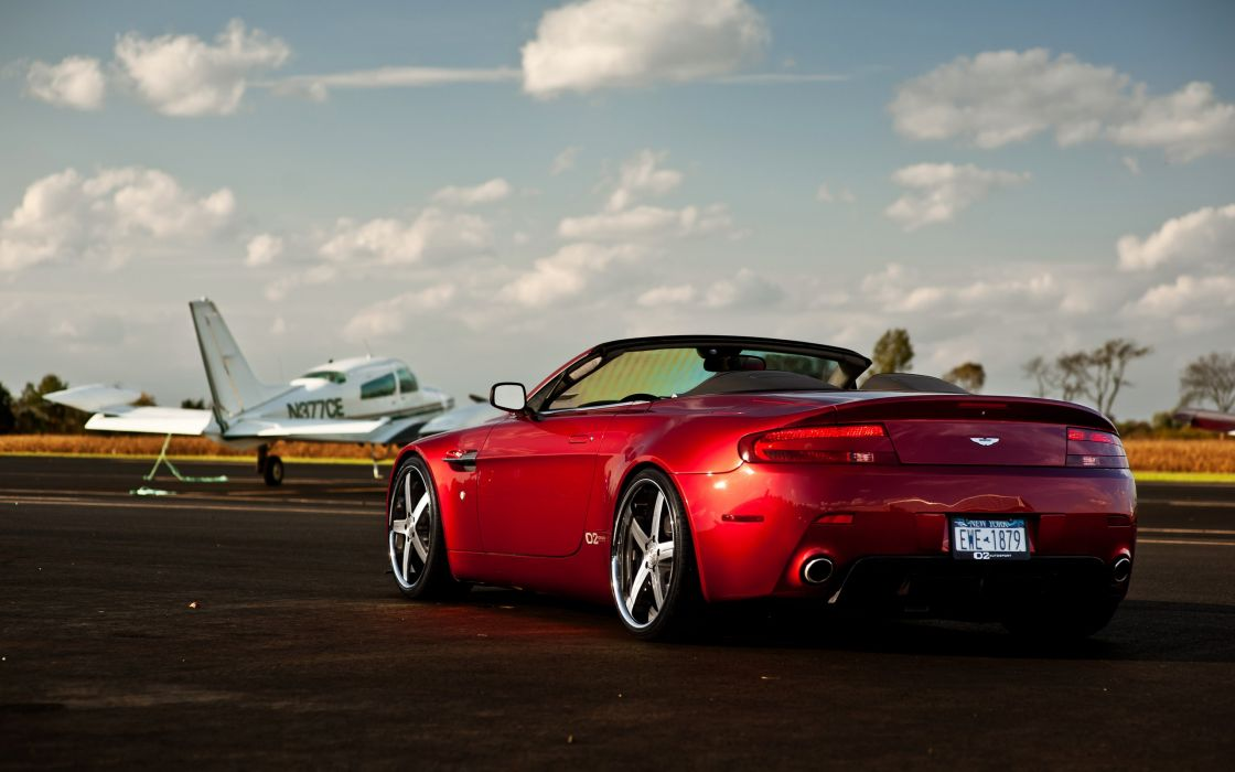 clouds cars Aston Martin runway planes vehicles supercars tuning wheels racing sports cars Aston Martin Vantage luxury sport cars speed automobiles wallpaper