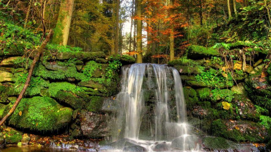 landscapes nature stones falls moss vegetation wallpaper