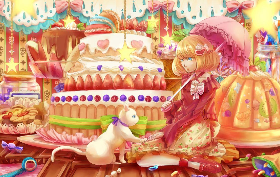 23ichiya animal cake cat original umbrella wallpaper