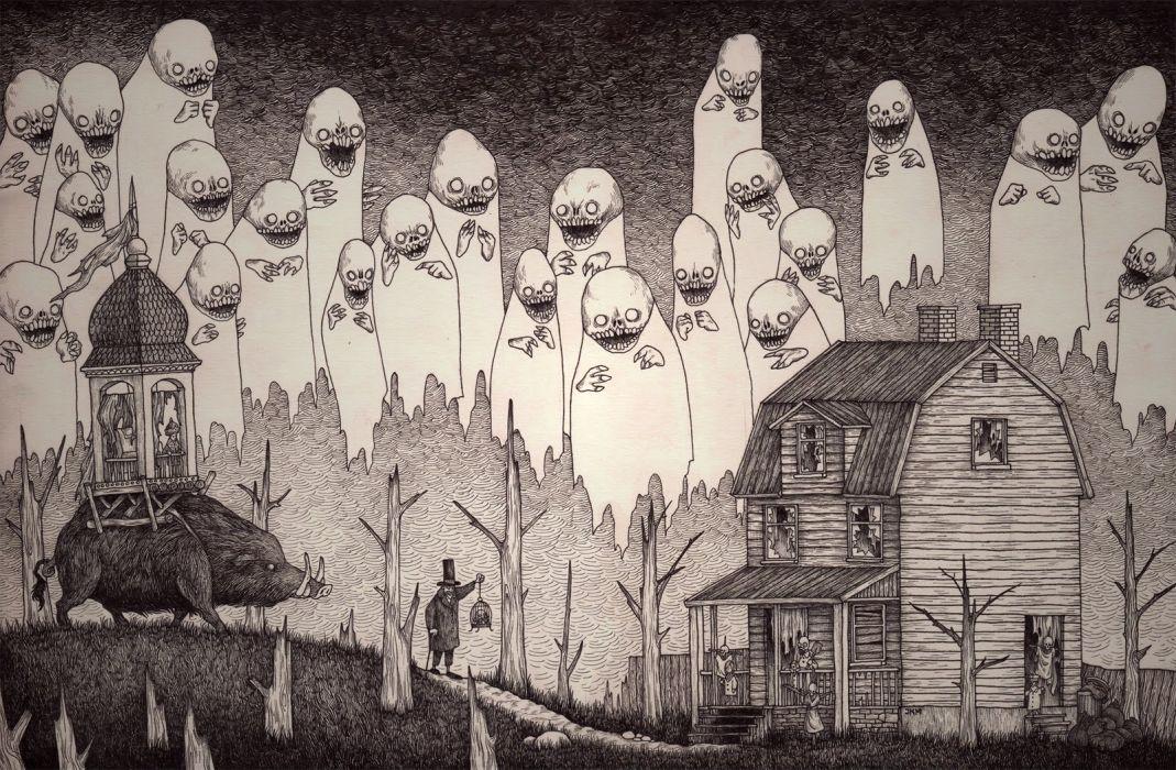 Super Abstract Creepy BW Drawing dark art horror monsters wallpaper  PQ14