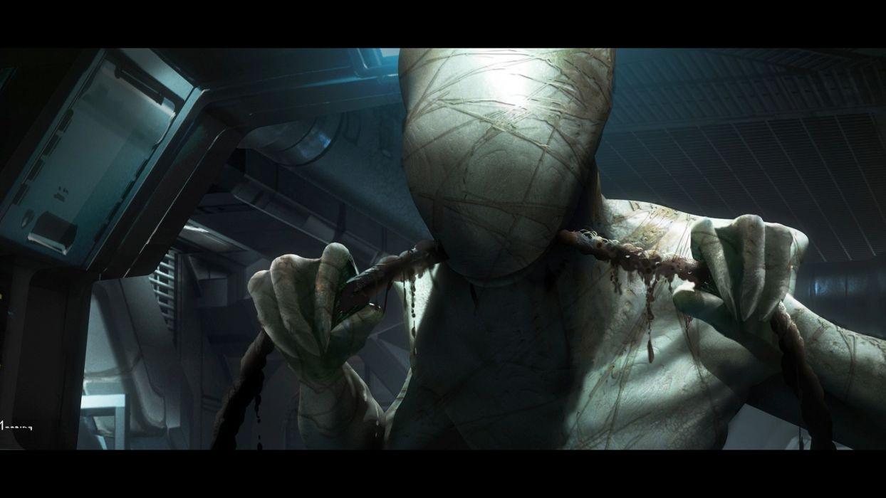 Alien Drawing Monster Creepy horror sci-fi dark wallpaper