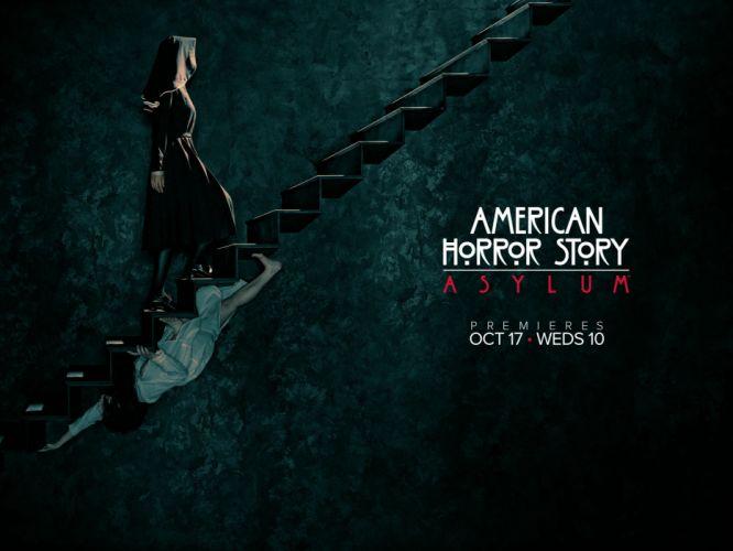 American Horror Story Asylum Creepy Stairs Nun television dark horror wallpaper