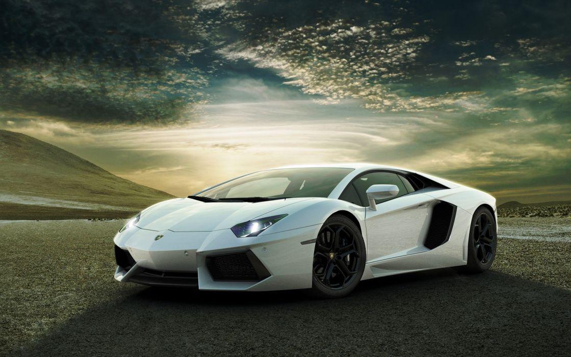 white cars Lamborghini Lamborghini Aventador wallpaper