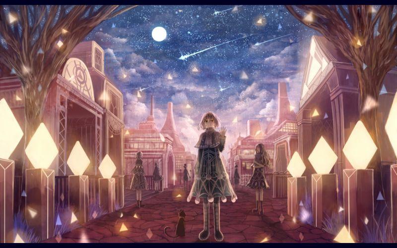 animal boots bou nin cat dress landscape moon night original scenic sky stars wallpaper
