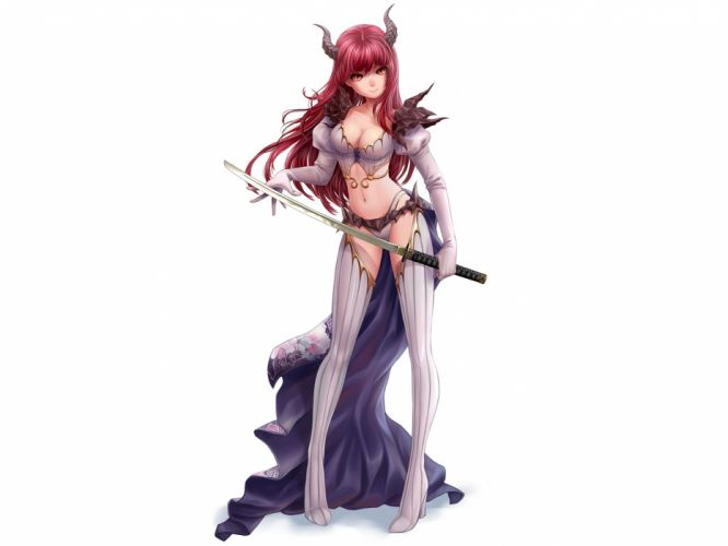 armor horns katana kotikomori original red hair sword weapon wallpaper