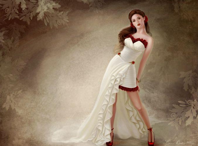art background girl dress Belov shoes red pattern pose women females girls sexy babes brunettes wallpaper