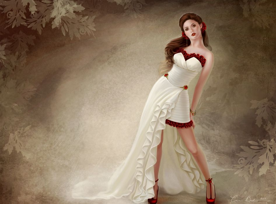 art background girl dress Belov shoes red pattern pose women females girls sexy babes brunettes wallpaper