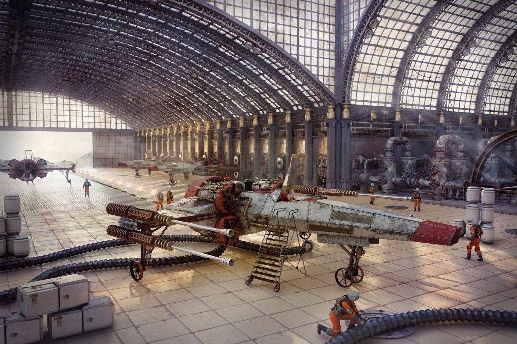 Art Star Wars steampunk hangar people ship sci-fi futuristic aircraft airplane planes wallpaper