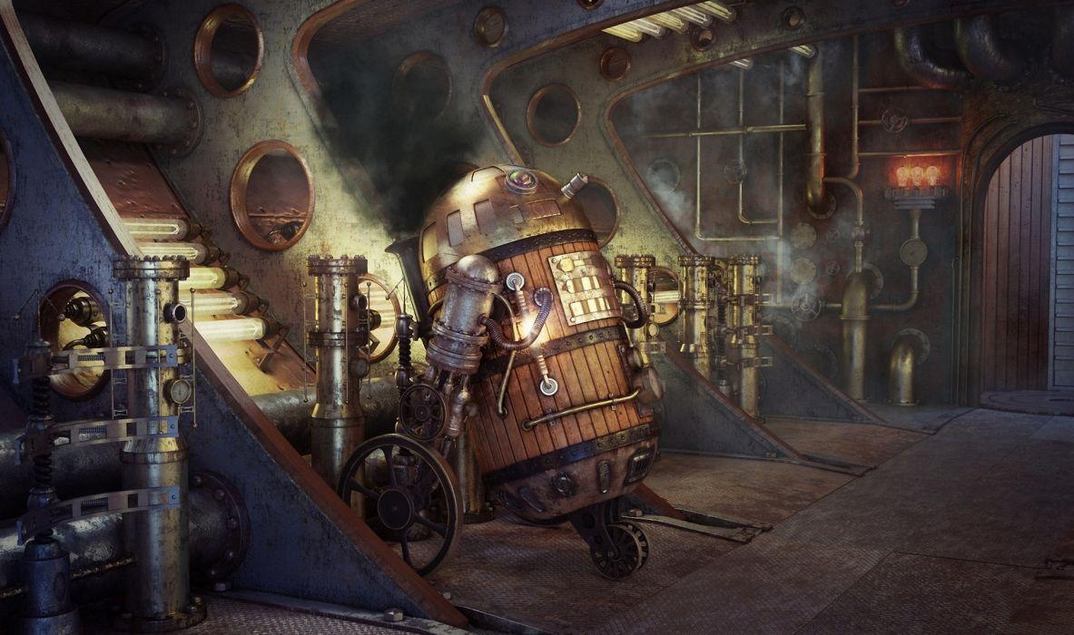 Art Star Wars Steampunk Robot R2d2 Smoke Pipes Movies Futuristic