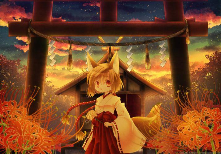 ascendancy flowers foxgirl japanese clothes miko original sunset torii wallpaper