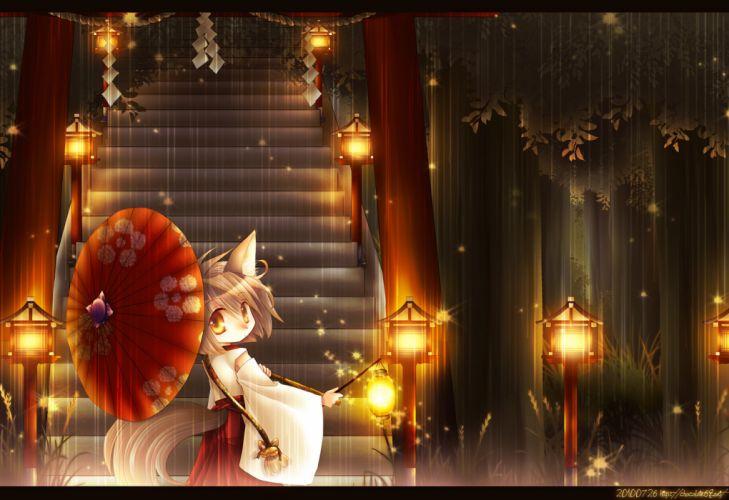 ascendancy foxgirl japanese clothes miko original rain torii umbrella wallpaper