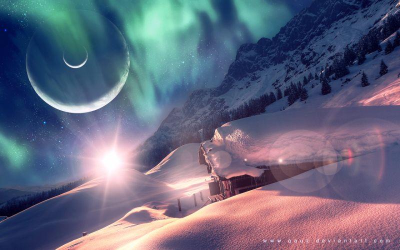 Aurora Borealis Northern Lights Cabin Snow Winter Planets
